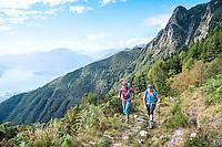 The Via Alta Verzasca is a five day ridge traverse hike above the Valle Verzasca in the Ticino region of Switzerland. Lago Maggiore is in the background.