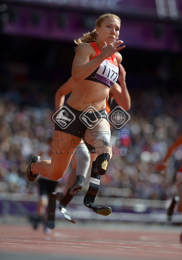 Katrin Green (GER)<br /> Athletics: Women's 200m T- 44<br /> Olympic Stadium (Wednesday 5  Sept)<br /> Paralympics - Summer / London 2012<br /> London England 29 Aug - 9 Sept <br /> © Sport the library / Jeff Crow