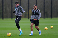 Cian Harries (left) vies for possession with Cameron Carter-Vickers (right) of Swansea City during the Swansea City Training at The Fairwood Training Ground, Swansea, Wales, UK. Wednesday 07 November 2018