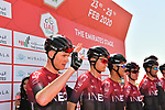 Chris Froome (GBR) and Team Ineos at sign on before Stage 3 The Emirates Stage of the UAE Tour 2020 running 184km from Al Qudra Cycle Track to Jebel Hafeet, Dubai. 25th February 2020.<br /> Picture: LaPresse/Massimo Paolone | Cyclefile<br /> <br /> All photos usage must carry mandatory copyright credit (© Cyclefile | LaPresse/Massimo Paolone)