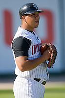 Catcher Miguel Gonzalez #12 of the Kannapolis Intimidators at Fieldcrest Cannon Stadium April 11, 2010, in Kannapolis, North Carolina.  Photo by Brian Westerholt / Four Seam Images