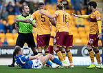 St Johnstone v Motherwell…28.09.19   McDiarmid Park   SPFL<br />Ref Gavin Duncan red cards Liam Donnelly after he fouled Chris Kane<br />Picture by Graeme Hart.<br />Copyright Perthshire Picture Agency<br />Tel: 01738 623350  Mobile: 07990 594431