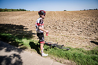 Marc Hirschi (SUI/UAE) waiting for a new bike<br /> <br /> 17th Benelux Tour 2021<br /> Stage 5 from Riemst to Bilzen (BEL/192km)<br /> <br /> ©kramon