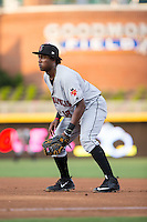 Indianapolis Indians first baseman Josh Bell (18) on defense against the Durham Bulls at Durham Bulls Athletic Park on August 4, 2015 in Durham, North Carolina.  The Indians defeated the Bulls 5-1.  (Brian Westerholt/Four Seam Images)