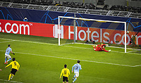 14th April 2021; Induna Park, Dortmund, Germany; UEFA Champions League Football quarter-final, Borussia Dortmund versus Manchester City; Goal to 1 1 from a penalty kick by Riyad Mahrez City against goalkeeper Martin Hitz BvB