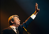 August 1994 file photo, Montreal, Quebec, Canada<br /> <br /> French singer Gilbert Becaud in concert at the St-Denis Theater, during the Francofolies Festival in Montreal, Canada, August 1994.<br /> <br /> Born as Francois Silly in Toulon, France in 1927<br /> He use the stage name Gilbert Becaus and was nicknamed Mister 100 000 Volts because of his unusaual energy during his concerts. He  died in 2001<br />  <br /> <br /> Mandatory Credit: Photo by Pierre Roussel- Images Distribution. (©) 1994 Copyright by Pierre Roussel <br /> ON SPEC<br /> NOTE 35mm slide scanned with Kodak RFS 3600,saved in Adobe 1998 RGB.<br /> NO UNSHARO MASK APPLIED