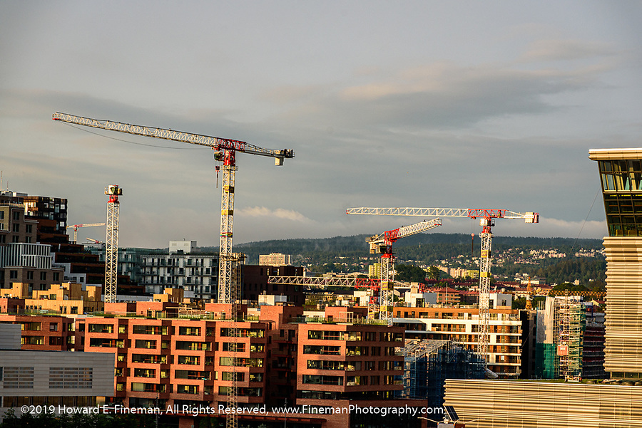 Construction cranes in Oslo seem to be everywhere