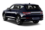Car pictures of rear three quarter view of 2021 Genesis GV80 Advanced 5 Door SUV Angular Rear