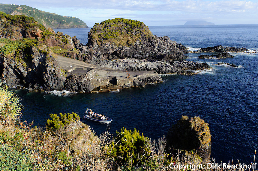 Porto Boqueirao in Santa Cruz auf der Insel Flores, Azoren, Portugal