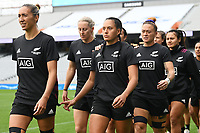 22nd May 2021; Eden Park, Auckland New Zealand;  Sarah Hirini (L) leads out the team. Black Ferns Womens Sevens versus Australia Women, Trans-Tasman Sevens at Eden Park, Auckland.