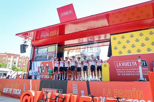 UAE Team Emirates best team after yesterday's stage at sign on before Stage 5 of La Vuelta d'Espana 2021, running 184.4km from Tarancón to Albacete, Spain. 18th August 2021.    <br /> Picture: Cxcling   Cyclefile<br /> <br /> All photos usage must carry mandatory copyright credit (© Cyclefile   Cxcling)