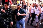 'GAYFEST MANCHESTER, UK', 'BEARS' - HEAVILY BUILT GAY MEN DRINKING IN CANAL STREET, 1999