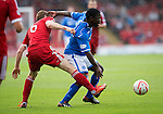 Aberdeen v St Johnstone...31.08.13      SPFL<br /> Nigel Hasselbaink is fouled by Mark Reynolds<br /> Picture by Graeme Hart.<br /> Copyright Perthshire Picture Agency<br /> Tel: 01738 623350  Mobile: 07990 594431