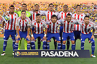 Paraguay starting eleven poses for a group photograph before Copa America Centenario group A match, in Pasadena, CA. Tuesday, Jun 07, 2016. (TFV Media via AP) *Mandatory Credit*