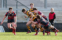 Monday 27th February 2017 | ULSTER SCHOOLS CUP SEMI-FINAL<br /> <br /> Rhys O'Donnell is tackled by James McClean during the Ulster Schools Cup Semi-Final between RBAI and Ballymena Academy  at Kingspan Stadium, Ravenhill Park, Belfast, Northern Ireland. <br /> <br /> Photograph by John Dickson | www.dicksondigital.com