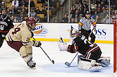 Bill Arnold (BC - 24), Chris Rawlings (NU - 37) (Gravallese) - The Boston College Eagles defeated the Northeastern University Huskies 6-3 for their fourth consecutive Beanpot championship on Monday, February 11, 2013, at TD Garden in Boston, Massachusetts.