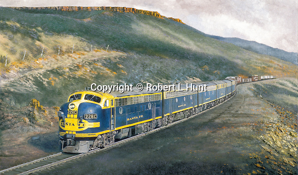 """Santa Fe F unit diesels in blue and yellow """"brave"""" warbonnet paint moving a freight train through the American Southwestern high desert country. Oil on canvas, 18' x 30""""."""