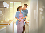 Illustration of couple expecting a new baby