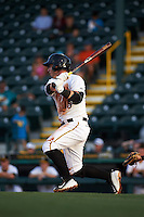 Bradenton Marauders third baseman Wyatt Mathisen (15) at bat during a game against the Jupiter Hammerheads on August 4, 2015 at McKechnie Field in Bradenton, Florida.  Jupiter defeated Bradenton 9-3.  (Mike Janes/Four Seam Images)