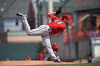 Harrisburg Senators pitcher Lucas Giolito (44) follows through on a pitch during a game against the Erie Seawolves on August 30, 2015 at Jerry Uht Park in Erie, Pennsylvania.  Harrisburg defeated Erie 4-3.  (Mike Janes/Four Seam Images)