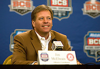 Alabama offensive coordinator Jim McElwain talks with the reporters during the Alabama Offensive Press Conference at Marriott Hotel at the Convention Center on January 5th, 2011.