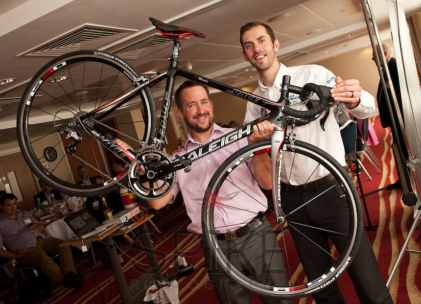 Martin Cox, who wowed the crowd with his story of how he cycled from Lands End to John O' Groats - and back again - in just 10 days. He raised over £2,000 for charity. Raleigh's marketing manager Ben Hillsdon (right) donated a bike for the venture, which was raffled off at the NCBC Lunch.