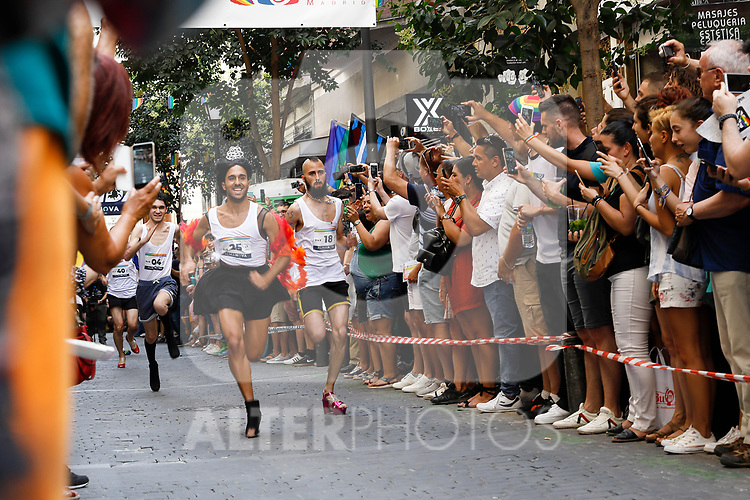 Participants during the heels race of the lgtb pride party of Madrid. July 4, 2019. (ALTERPHOTOS/JOHANA HERNANDEZ)