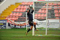 US goalkeeper Jill Loyden trains. The USA defeated Norway 2-1 at Olhao Stadium on February 26, 2010 at the Algarve Cup.