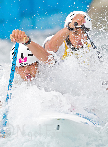 02 AUG 2012 - CHESHUNT, GBR - Hu Minghai (CHN) (left) and Shu Junrong (CHN) (right) of China make their final run in the men's Canoe Double (C2) during the London 2012 Olympic Games final at Lee Valley White Water Centre, Cheshunt, Great Britain .(PHOTO (C) 2012 NIGEL FARROW)