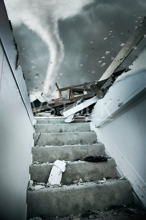 Demolished staircase of house during tornado