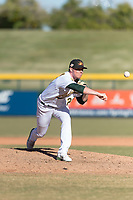 Mesa Solar Sox relief pitcher Sam Sheehan (29), of the Oakland Athletics organization, delivers a pitch during an Arizona Fall League game against the Surprise Saguaros at Sloan Park on November 15, 2018 in Mesa, Arizona. Mesa defeated Surprise 11-10. (Zachary Lucy/Four Seam Images)
