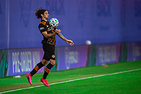 LAKE BUENA VISTA, FL - JULY 23: Zarek Valentin #4 of the Houston Dynamo receives a ball during a game between Los Angeles Galaxy and Houston Dynamo at ESPN Wide World of Sports on July 23, 2020 in Lake Buena Vista, Florida.