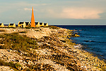 Bonaire, Netherland Antilles -- Slave huts surround the orange marker that told sailing captains they had arrived at the anchorage for one of the several salt stations in the south of Bonaire (Orange Pan).