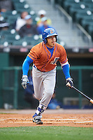 Durham Bulls left fielder Dayron Varona (3) at bat during a game against the Buffalo Bisons on June 13, 2016 at Coca-Cola Field in Buffalo, New York.  Durham defeated Buffalo 5-0.  (Mike Janes/Four Seam Images)
