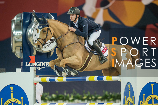 Bertram Allen of Ireland riding Quiet Easy during the Hong Kong Jockey Club Trophy competition, part of the Longines Masters of Hong Kong on 10 February 2017 at the Asia World Expo in Hong Kong, China. Photo by Juan Serrano / Power Sport Images