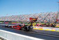 Aug 8, 2020; Clermont, Indiana, USA; NHRA top fuel driver Steve Torrence (near) races alongside father Billy Torrence  during qualifying for the Indy Nationals at Lucas Oil Raceway. Mandatory Credit: Mark J. Rebilas-USA TODAY Sports