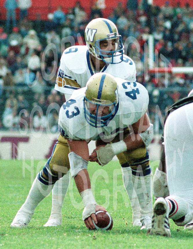 John Bonk Winnipeg Blue Bombers 1983. Copyright photograph Scott Grant