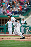 Wisconsin Timber Rattlers right fielder Jonathan Oquendo (2) follows through on a swing during a game against the Fort Wayne TinCaps on May 10, 2017 at Parkview Field in Fort Wayne, Indiana.  Fort Wayne defeated Wisconsin 3-2.  (Mike Janes/Four Seam Images)