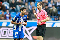 Deportivo Alaves' Manu Garcia have words with the Spanish referee Jose Luis Gonzalez Gonzalez during La Liga match. October 28,2017. (ALTERPHOTOS/Acero) /NortePhoto.com