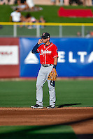 Tyler Smith (7) of the Tacoma Rainiers during the game against the Salt Lake Bees in Pacific Coast League action at Smith's Ballpark on July 22, 2016 in Salt Lake City, Utah. The Rainiers defeated the Bees 8-3. (Stephen Smith/Four Seam Images)