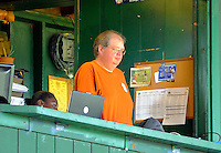 3 July 2011: The official game scorer, Bruce Bosley, works a game between the Vermont Lake Monsters and the Tri-City ValleyCats at Centennial Field in Burlington, Vermont. The Lake Monsters rallied from a 6-3 deficit, scoring 4 runs in the bottom of the 9th, to defeat the ValletCats 7-6 in NY Penn League action. Mandatory Credit: Ed Wolfstein Photo