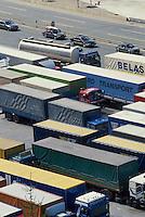 - trucks parked at Brenner pass, between Italy and Austria....- autocarri in sosta al valico del Brennero fra Italia e Austria