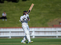 Wellington's Devon Conway brings up his double century with a six during day one of the Plunket Shield cricket match between the Wellington Firebirds and Canterbury at Basin Reserve in Wellington, New Zealand on Tuesday, 29 October 2019. Photo: Dave Lintott / lintottphoto.co.nz
