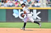 Charlotte Knights second baseman Yoan Moncada (10) reacts to the ball during a game against the  Gwinnett Braves at BB&T Ballpark on May 7, 2017 in Charlotte, North Carolina. The Knights defeated the Braves 7-1. (Tony Farlow/Four Seam Images)