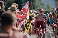 "Ian Boswell (USA/Katusha-Alpecin) coming through ""Dutch Corner"" (#7) on Alpe d'Huez<br /> <br /> Stage 12: Bourg-Saint-Maurice / Les Arcs > Alpe d'Huez (175km)<br /> <br /> 105th Tour de France 2018<br /> ©kramon"