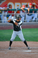Steven Leonard (6) of the Grand Junction Rockies at bat against the Orem Owlz in Pioneer League action at Home of the Owlz on July 6, 2016 in Orem, Utah. The Owlz defeated the Rockies 9-1 in Game 1 of the double header.  (Stephen Smith/Four Seam Images)