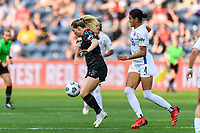 BRIDGEVIEW, IL - JULY 18: Kealia Watt #2 of the Chicago Red Stars plays the ball as Alana Cook #4 of the OL Reign defends during a game between OL Reign and Chicago Red Stars at SeatGeek Stadium on July 18, 2021 in Bridgeview, Illinois.