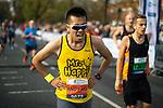 © Joel Goodman - 07973 332324 . 15/10/2017 . Manchester , UK . Athletes reach the finish line in the Greater Manchester Half Marathon in Old Trafford . Photo credit : Joel Goodman
