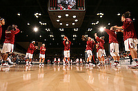 15 November 2007: (L-R) Stanford Cardinal Cissy Pierce, Candice Wiggins, Melanie Murphy, Hannah Donaghe, Jayne Appel, Jeanette Pohlen, JJ Hones, Kayla Pedersen, and Jillian Harmon during Stanford's 97-62 loss against the USA Women's National Basketball Team at Maples Pavilion in Stanford, CA.