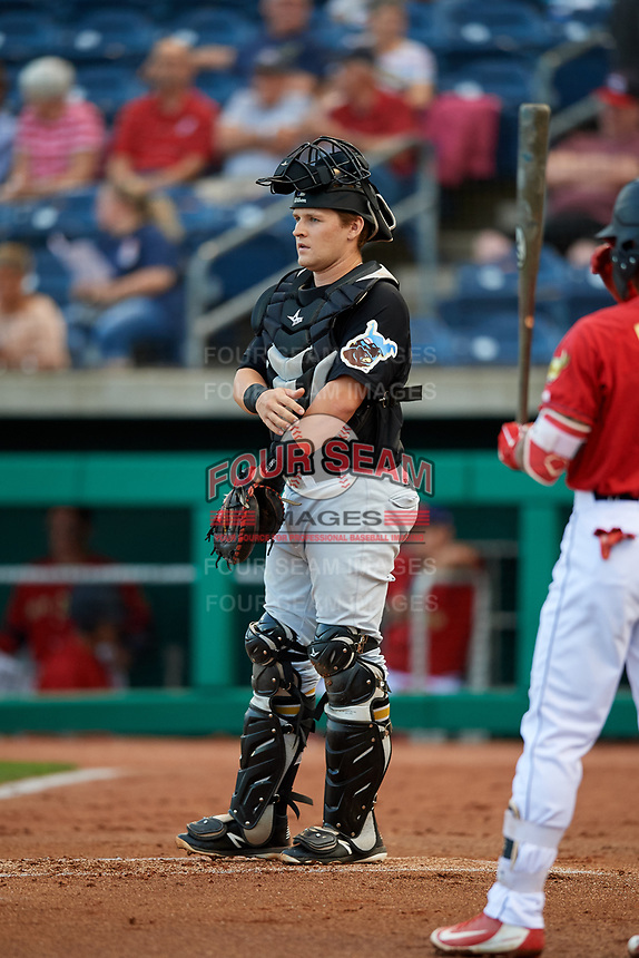 West Virginia Black Bears catcher Grant Koch (51) during a game against the State College Spikes on August 30, 2018 at Medlar Field at Lubrano Park in State College, Pennsylvania.  West Virginia defeated State College 5-3.  (Mike Janes/Four Seam Images)